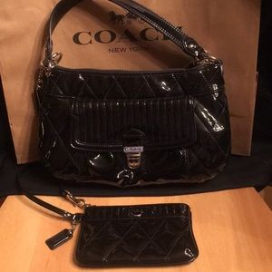 Coach Ashley Quilted patent bag+Wristlet wallet